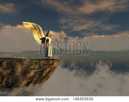 3d illustration of a winged woman on the edge of a cliff