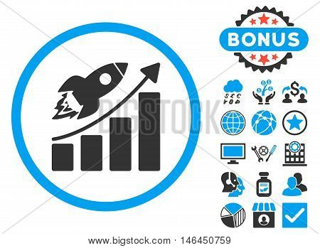 Rocket Startup Graph icon with bonus. Vector illustration style is flat iconic bicolor symbols, blue and gray colors, white background.
