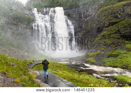 Shower at Skjervsfossen waterfall in Hordaland Norway