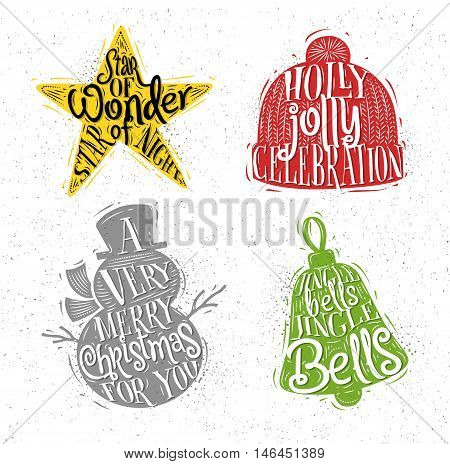 Christmas vintage silhouettes star snowman bell winter hat with greeting lettering star of wonder star of night holly jolly celebration a very merry christmas for you jingle bells jingle bells drawing with color on dirty paper background