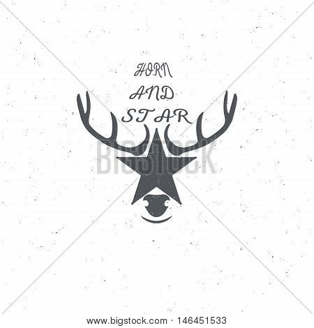 Horn and a star or a deer s head, poster or badge with grunge effects and scuffed, for decoration or print on t-shirt, illustration