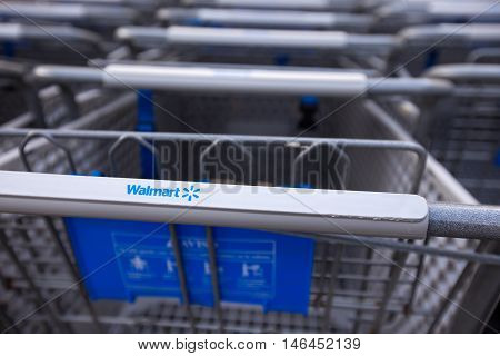 Shopping Cart Near Walmart Supermarket