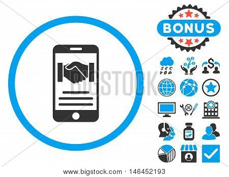 Mobile Agreement icon with bonus. Glyph illustration style is flat iconic bicolor symbols, blue and gray colors, white background.