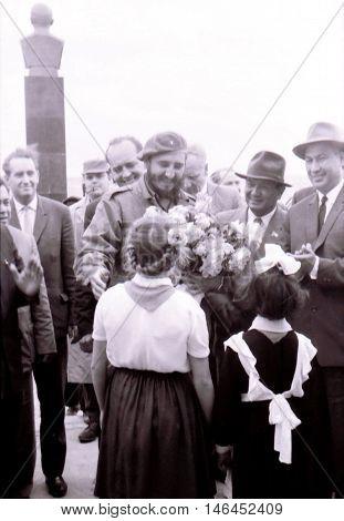 Yangiyer Uzbekistan - May 10 1963: Pioneer girls gave flowers Fidel.