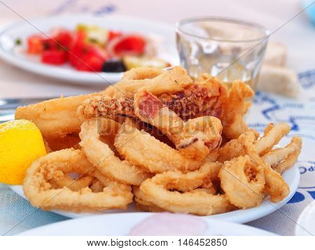 Portion of fried squid (or calamari). Greek style. Salad and wine on background