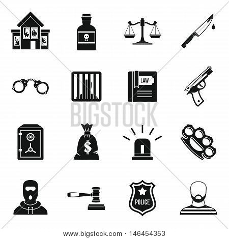 Crime and punishment icons set in simple style. Law and order set collection vector illustration
