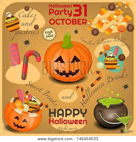 Halloween Poster - Symbols and Signs of October Halloween. Sweet Treats and Jack-o-lantern. Invitation Card for Party. Vector Illustration.