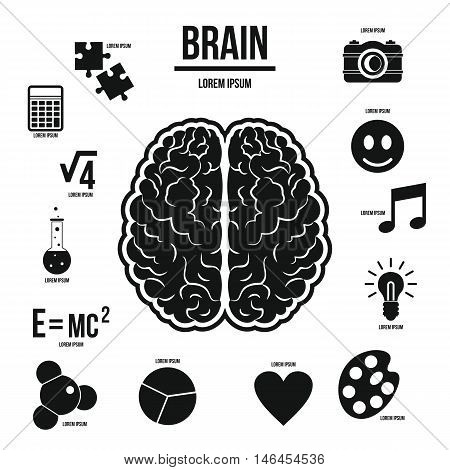 Human brain infographics set in simple style. Brain function set collection vector illustration