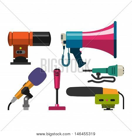 Different microphones types icons. Journalist vector microphone, interview , music studio. Web broadcasting microphone, vocal tool, tv show microphone.