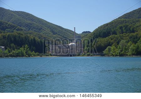 View Of Brasimone Lake And Its Dam.