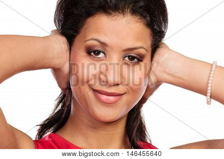 Mixed Race Woman Closing Ears With Hands.