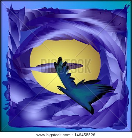 A bird in the moonlight. Bird Flying through the clouds to the moon toward the holiday Halloween.