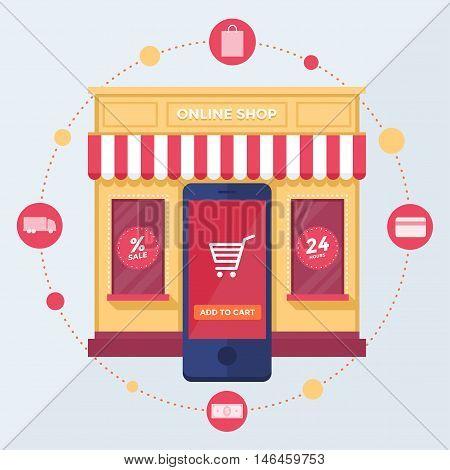 Online shop. Set of design vector illustration concepts of online shopping, mobile marketing and digital marketing.