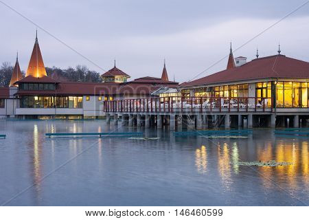 The famous Heviz Spa in the evening. Heviz lake is the 2nd largest natural thermal lake in the world.