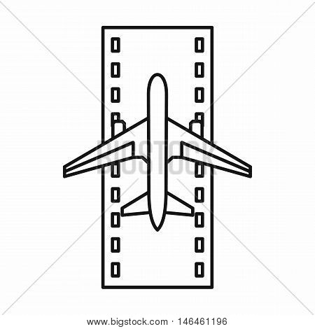 Airstrip with airplane icon in outline style on a white background vector illustration