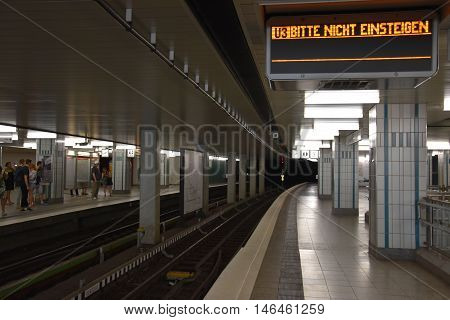 HAMBURG, GERMANY - AUG 27: Hamburg U-Bahn in Germany, as seen on Aug 27, 2016. It is a rapid transit system serving the cities of Hamburg, Norderstedt and Ahrensburg in Germany.