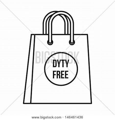 Duty free bag icon in outline style on a white background vector illustration