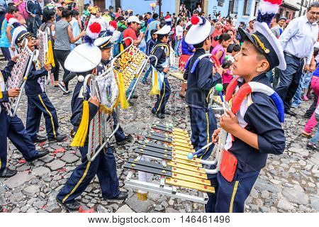 Antigua Guatemala - September 14 2015: School band marches in streets during Guatemalan Independence Day celebrations