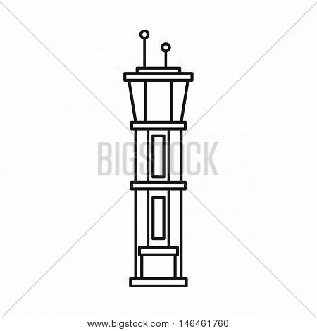Airport control tower icon in outline style on a white background vector illustration