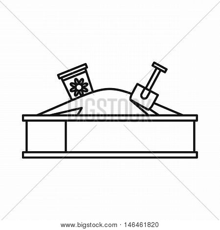 Sandbox on a playground icon in outline style on a white background vector illustration