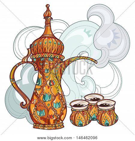 Arabic coffee maker dalla with cups. Greeting card or invitation, hand drawn sketch.Zen art hand drawn.