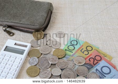 Australian money AUD with calculator and small money pouch
