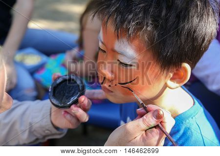 Young boy getting face painted as a tiger