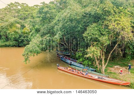 Lago Agrio Ecuador - 19 March 2015 Wooden Boats Are Ready To Take Passengers To Cuyabeno Wildlife Reserve South America