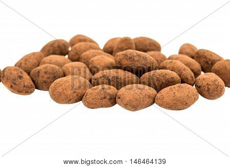 almonds in chocolate on a white background