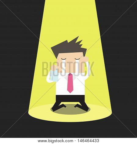 Unlucky businessman crying alone in spotlight vector