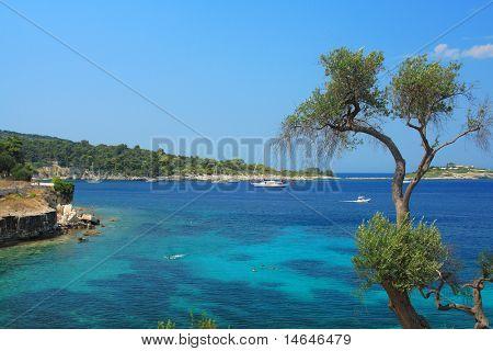 Gaios beach on Paxos island Greece poster