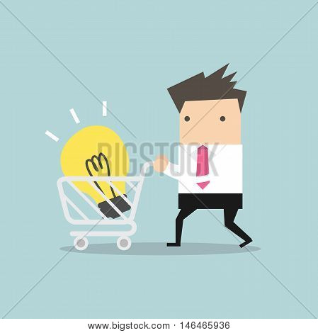 Businessman with shopping carting and light bulb Idea vector