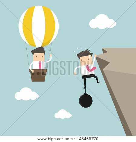 Businessman in hot air balloon fly pass businessman hold on the cliff with burden vector
