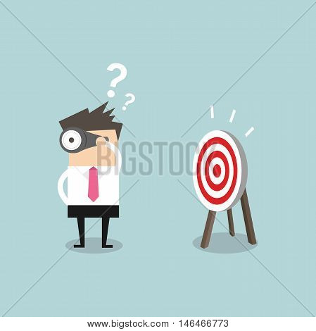 Confused businessman look for target in wrong direction vector