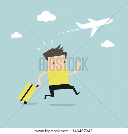 Businessman plane missing the airplane vector illustration