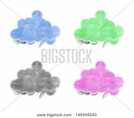 bubble cloud talk tag paper craft stick on white background