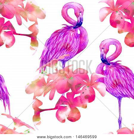 Pink flamingos, tropical flowers, seamless watercolor pattern background