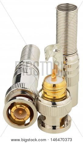 BNC connectors used for coaxial cable. Objects on white background without shadows.