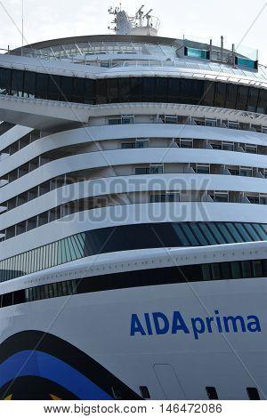 HAMBURG, GERMANY - AUG 27: AIDAprima cruise ship docked in Hamburg, Germany, as seen on Aug 27, 2016. The ship was christened on 7 May 2016 in Hamburg, as part of 827th Hamburg Port Anniversary.
