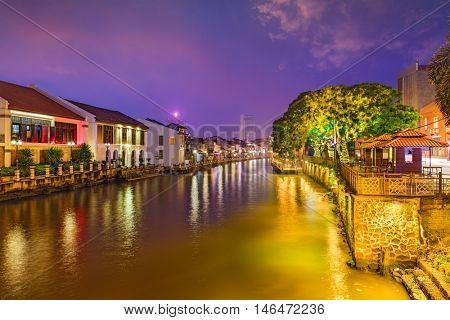 Malacca, Malaysia Skyline on the Malacca River.
