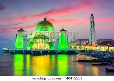 Malacca Straits Mosque in Malacca, Malaysia.