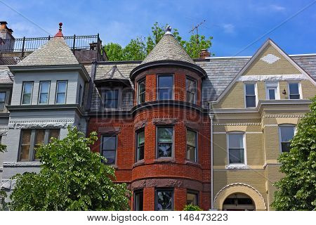 Luxury townhouses near Dupont Circle in US capital. Residential architecture of Washington DC USA.