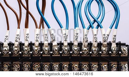 PLC's input wires used in industry on background