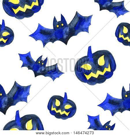 Halloween seamless pattern with halloween pumpkin and bat. Cute naive watercolor