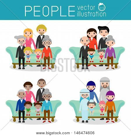 set of Happy family, Different nationalities and dress styles, people character cartoon concept, African-American, Asian, Arab, European,family, mother, father,grandparents, girl, boy, Vector