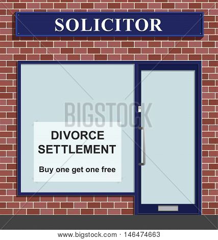 Comical Solicitors premises advertising marriage divorce settlements buy one get on free offer