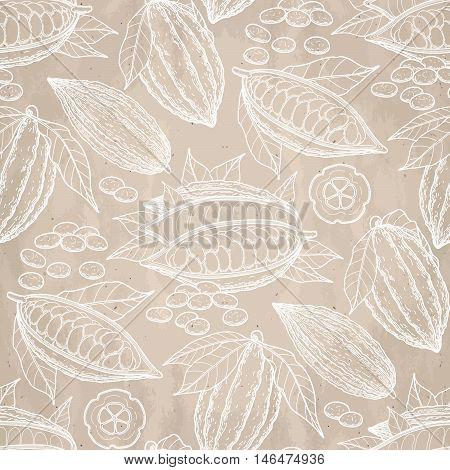Graphic cocoa fruits on aged paper. Hand drawn exotic cacao plant in brawn colors. Vector seamless pattern