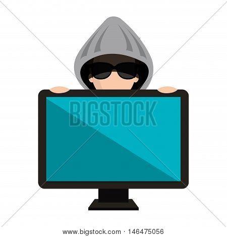 avatar man cartoon hacker digital criminal wearing gray hoodie and black glasses behind monitor computer.  vector illustration