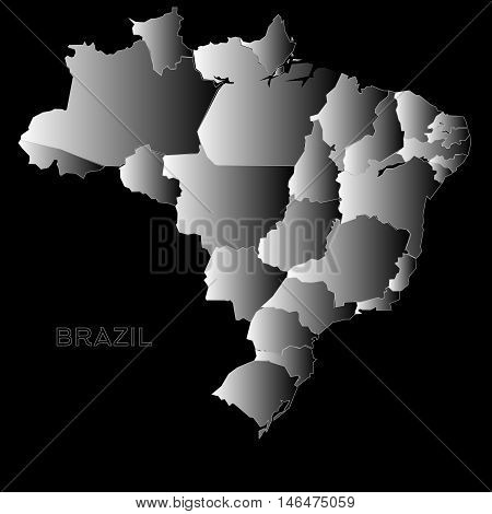 Brazil Outline Map On Vector Photo Free Trial Bigstock
