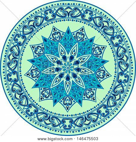 Drawing of a floral mandala in blue and turquoise colors on a white background. Hand drawn tribal  vector stock illustration